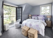 Small bedroom in purple with Juliet balcony