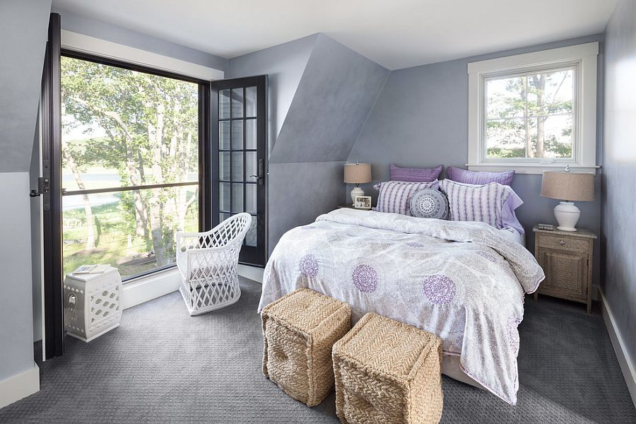 Small bedroom in purple with Juliet balcony [Design: Bowley Builders]