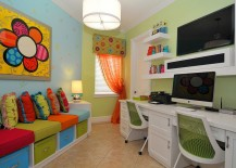 Small home office and playroom combo with plush seating and built-in storage