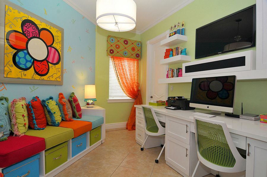 ... Small Home Office And Playroom Combo With Plush Seating And Built In  Storage [Design