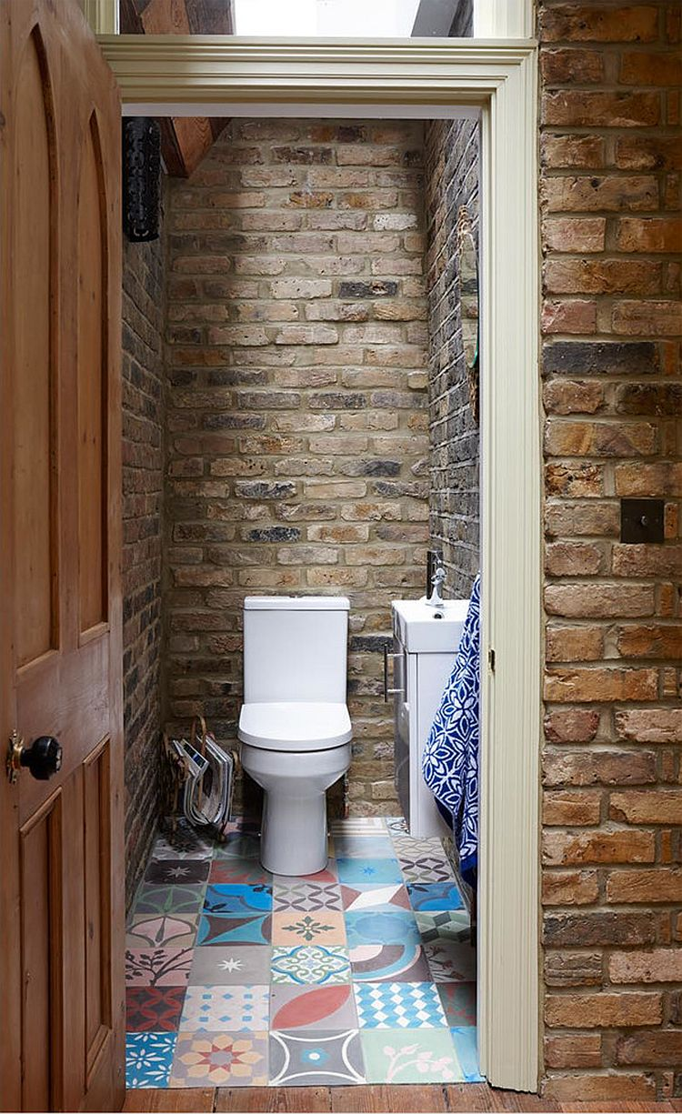 Small Rustic Bathroom With Brick Walls And Skylight Decoist