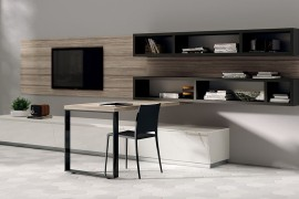 Smart desk design allows you to create a home workspace in the living room 270x180 Flux Swing: Dynamic Living Room Compositions with Modular Ease