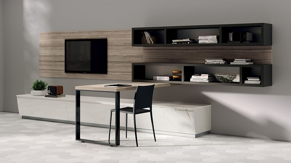Smart desk design allows you to create a home workspace in the living room