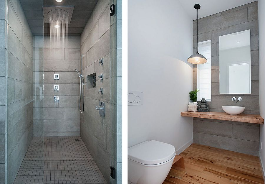 Smart modern bathroom in gray and white