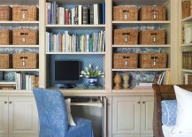 Smart organizational idea for the playroom home office combo