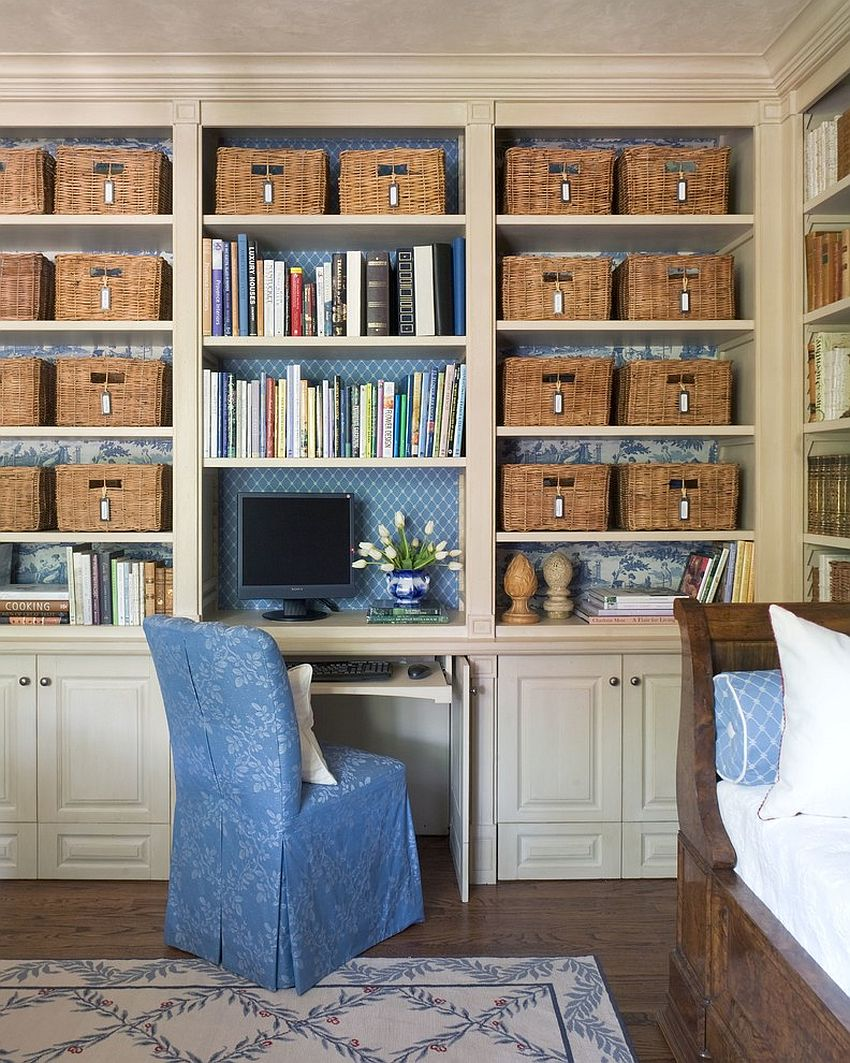 Smart organizational idea for the playroom home office combo [Design: Tiffany Farha Design]