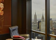 Smart relaxation zone and redaing nook overlooking New York City