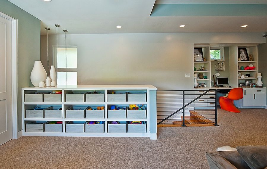 Smart use of space combines the office and playroom even while keeping them separate