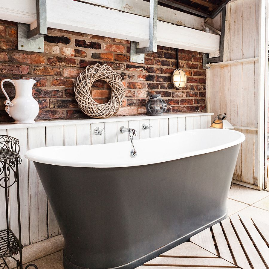 Rustic Bathroom With White Shiplap: Rugged And Ravishing: 25 Bathrooms With Brick Walls