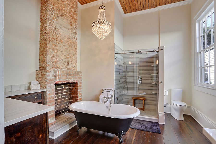 Spacious transitional bathroom with cool brick feature [Design: MLM Incorporated]