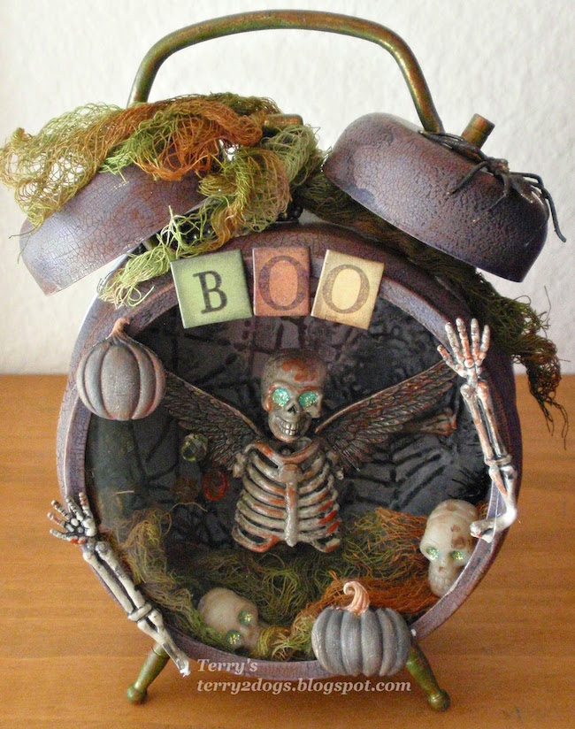 Spooky Halloween-inspired altered alarm clock