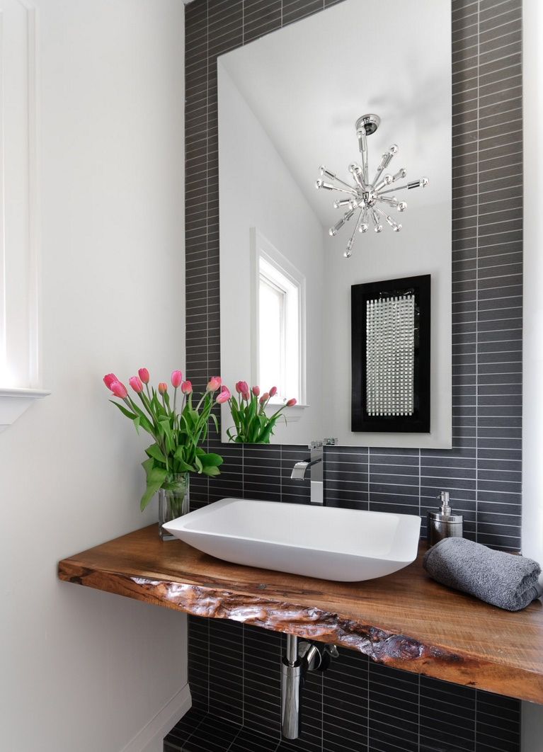 Bring living room style to your powder room for Powder room bathroom ideas