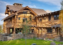 Stone and timber mountain cabin in Yellowstone Club Big Sky 217x155 The Pointe: Amazing Views Meet Timeless Charm at Rustic Mountain Cabin