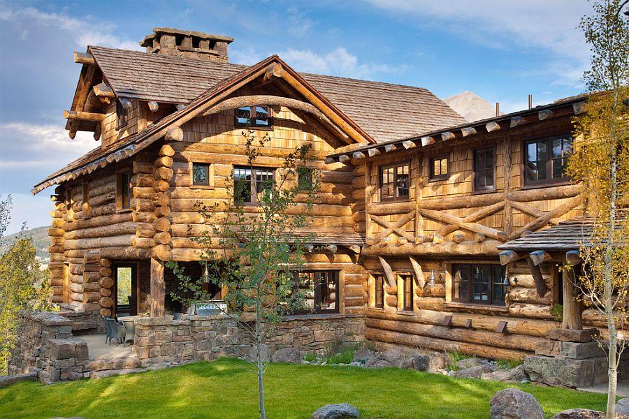 Stone and timber mountain cabin in Yellowstone Club, Big Sky