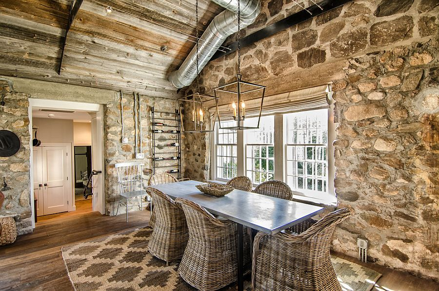 Stone wall dining room with cozy cottage charm [Design: Kelly and Co. Design]