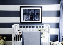 Striped accent wall brings refinement to the contemporary nursery