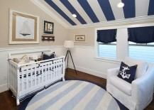 Striped additions make perfect sense in the nautical themed nursery