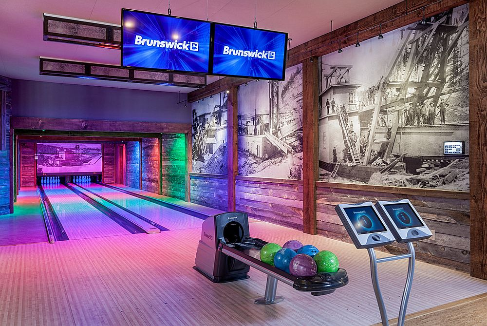 Stunning basement bowling area inside a family retreat in Rocky Mountains [Design: ListenUp]