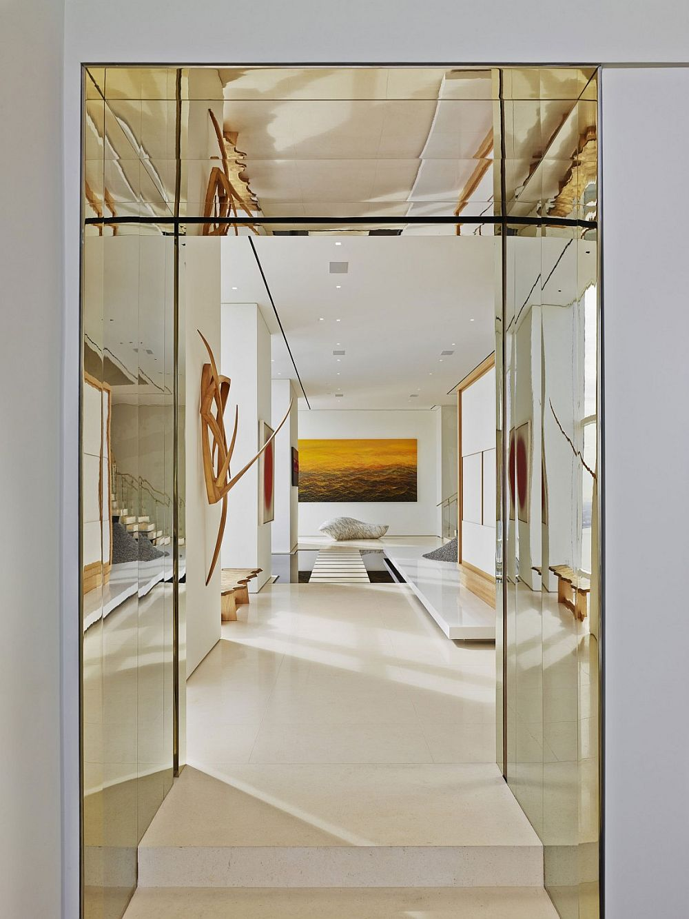 Stunning entrance of private apartment of the 90th floor of NYC high-rise with 360 degree views