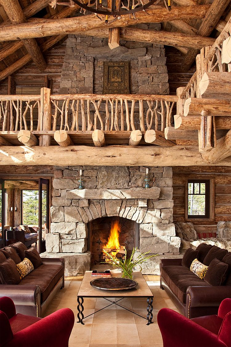 Ruatic Living Room Decorating: Amazing Views Meet Timeless Charm At Rustic Mountain Cabin