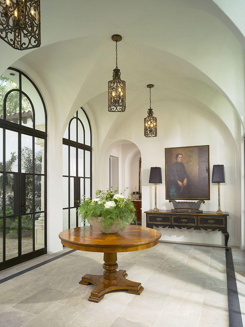 Style of the doors and lovely lighting creates a cool Mediterranean vibe [Design: Summerour Architects]