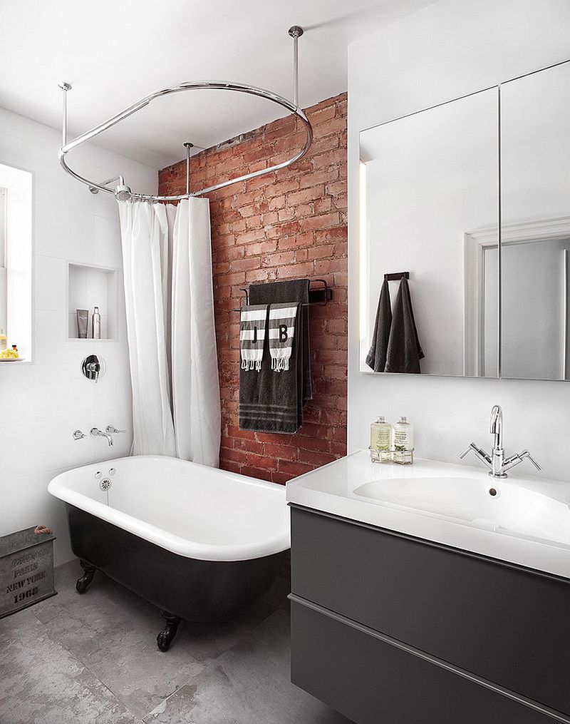 Rugged and ravishing 25 bathrooms with brick walls for Industrial bathroom ideas