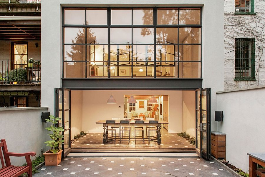 Stylish modern Brooklyn townhouse opens up into the small rear garden