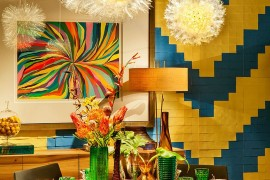 Textured dining room backdrop seems to be inspired by the world of Legos