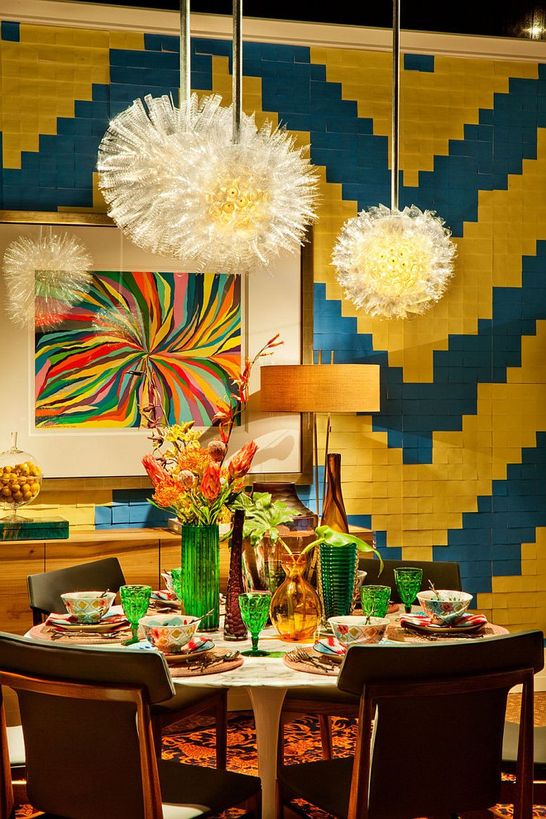 Textured dining room backdrop seems to be inspired by the world of Legos [Design: Garrison Hullinger Interior]