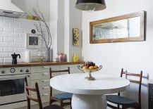 Tile backsplash in a modern eclectic kichen