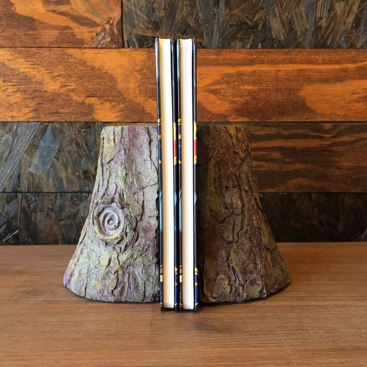 Tree trunk bookends