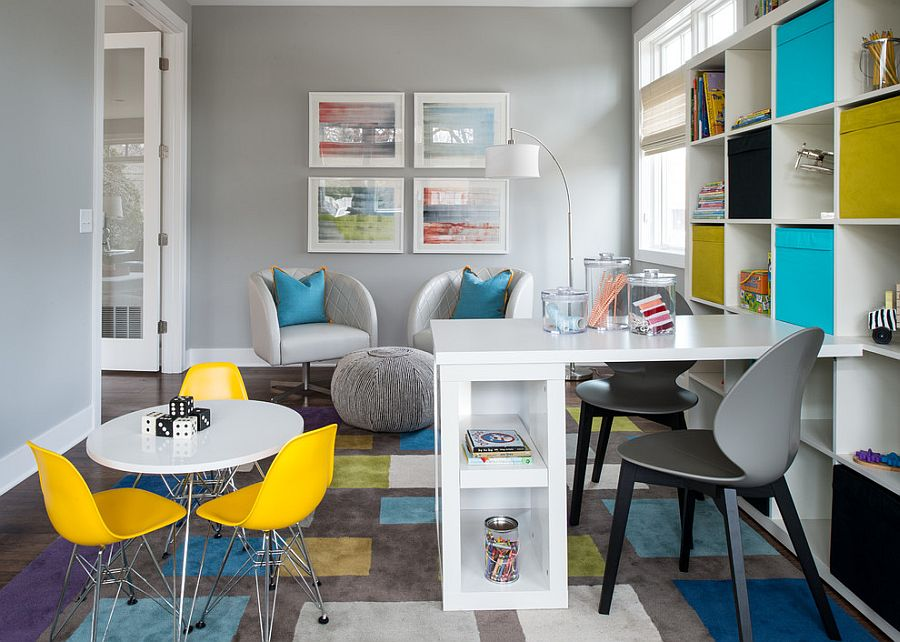 View In Gallery Trendy Kidsu0027 Playroom And Home Office Combo Idea Design Refined LLC