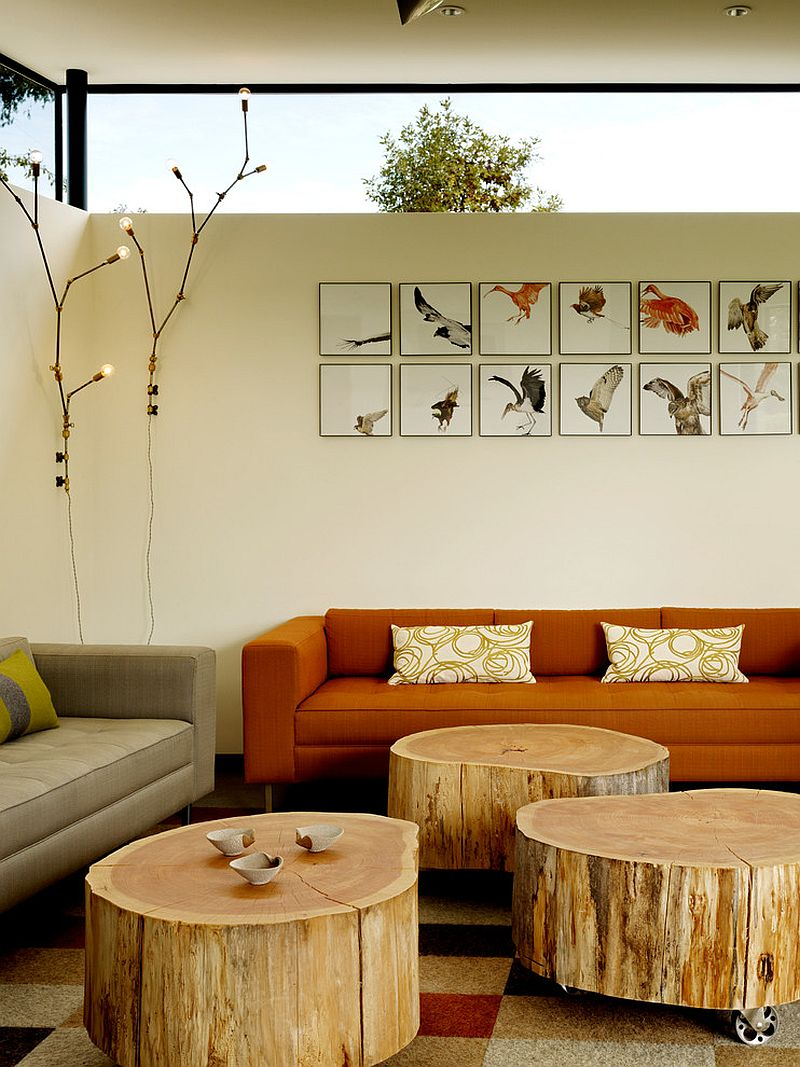 ... Trio Of Tree Trunk Coffee Tables On Wheels Offer Versatility [Design:  Schwartz And Architecture