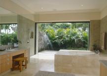 Tropical bathroom with vanity seating