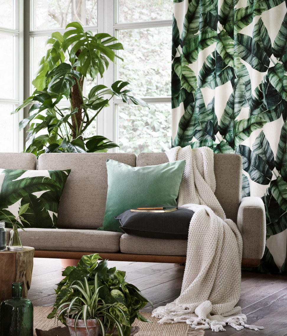 Tropical draperies and pillow from H&M Home