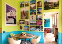 Turquoise and lime green dining room with a brilliant gallery wall