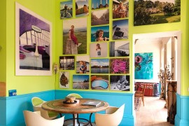 Turquoise and lime green dining room with a brilliant gallery wall 270x180 Visual Feast: 25 Eclectic Dining Rooms Drenched in Colorful Brilliance!