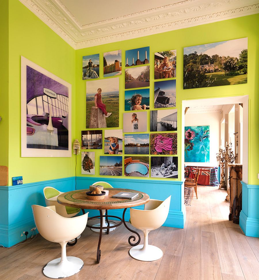 Turquoise and lime green dining room with a brilliant gallery wall [Design: Drummonds Bathrooms]