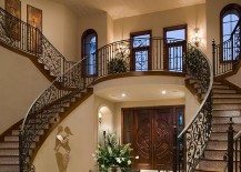 Twin staircase design is a classic that never fails in the grand Mediterranean villa