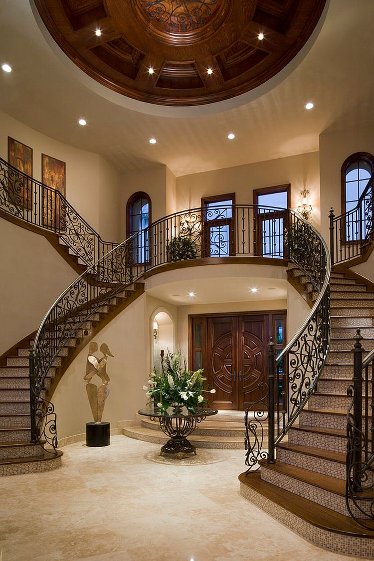 Twin staircase design is a classic that never fails in the grand Mediterranean villa [Design: Gregory A. Jones Architecture]