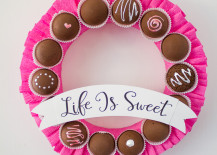 Valentine's Day chocolate wreath