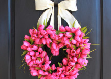 Valentine's Day heart-shaped wreath made from pink tulips