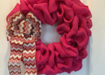 Valentine's Day wreath made from pink burlap