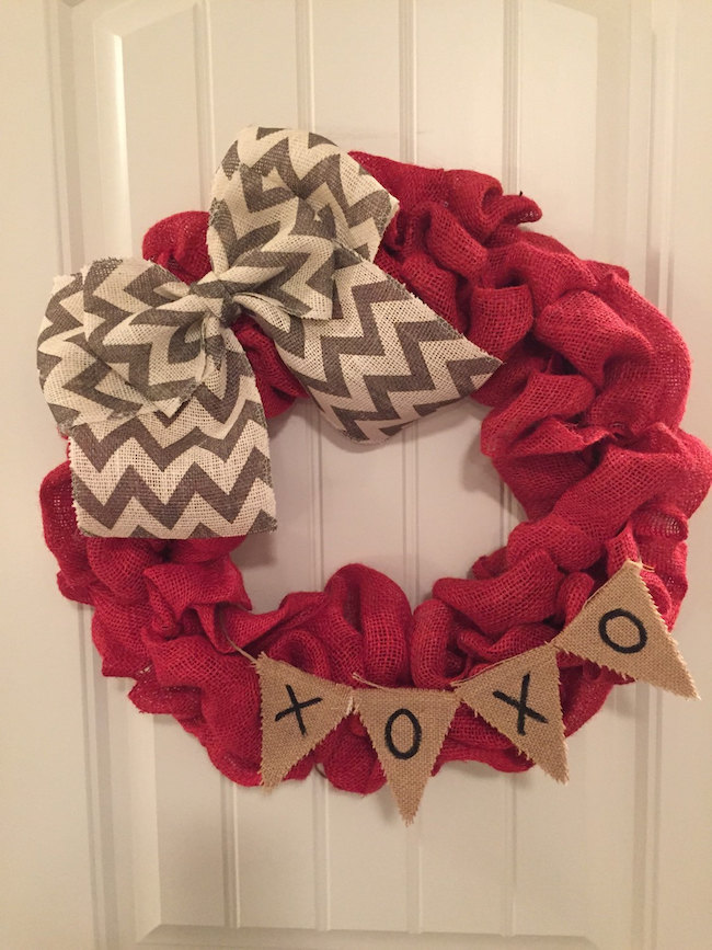 Valentine's Day wreath made from red burlap