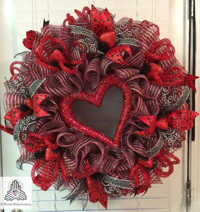 Valentine's day red:silver heart ruffle Deco mesh wreath