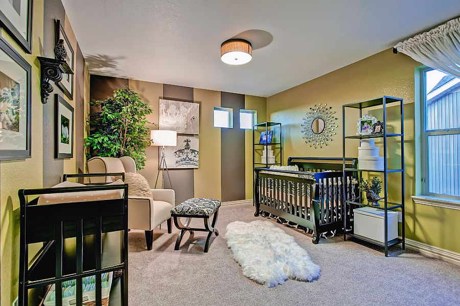 Vertical stripes give visual height to a nursery with low roof [Design: Oakwood Homes]