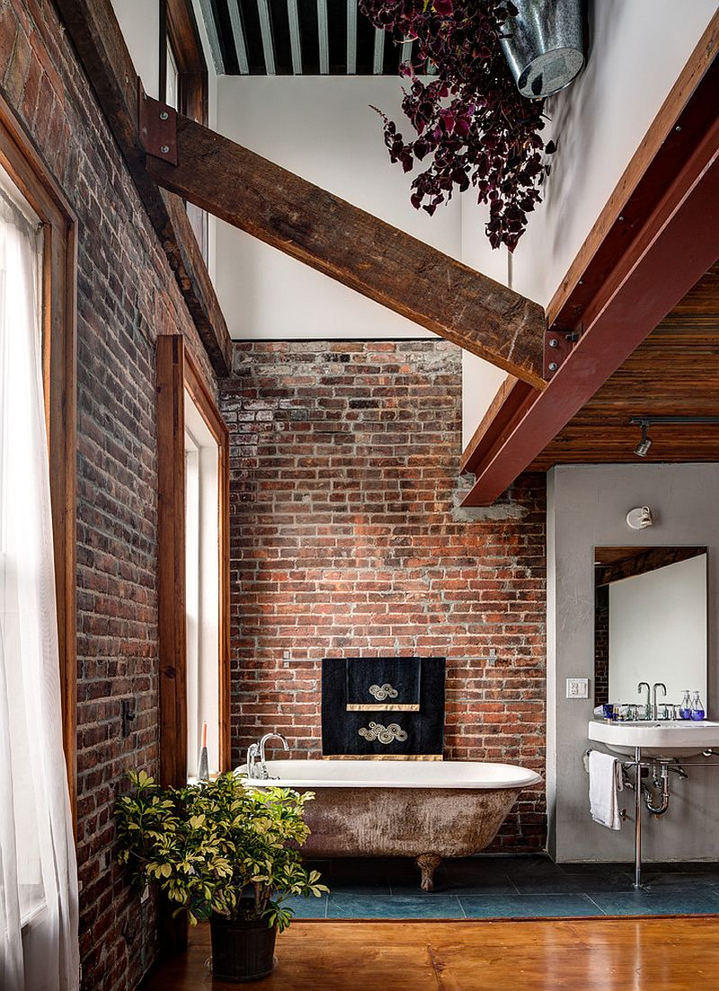 rugged and ravishing 25 bathrooms with brick walls. Black Bedroom Furniture Sets. Home Design Ideas