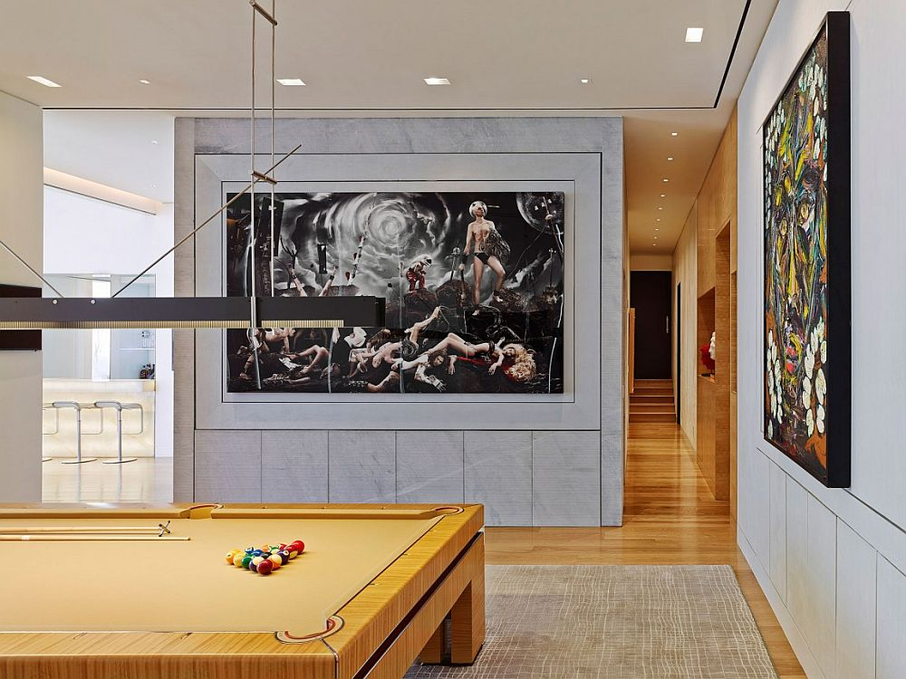 Wall art adds color and creativity to the spacious game room