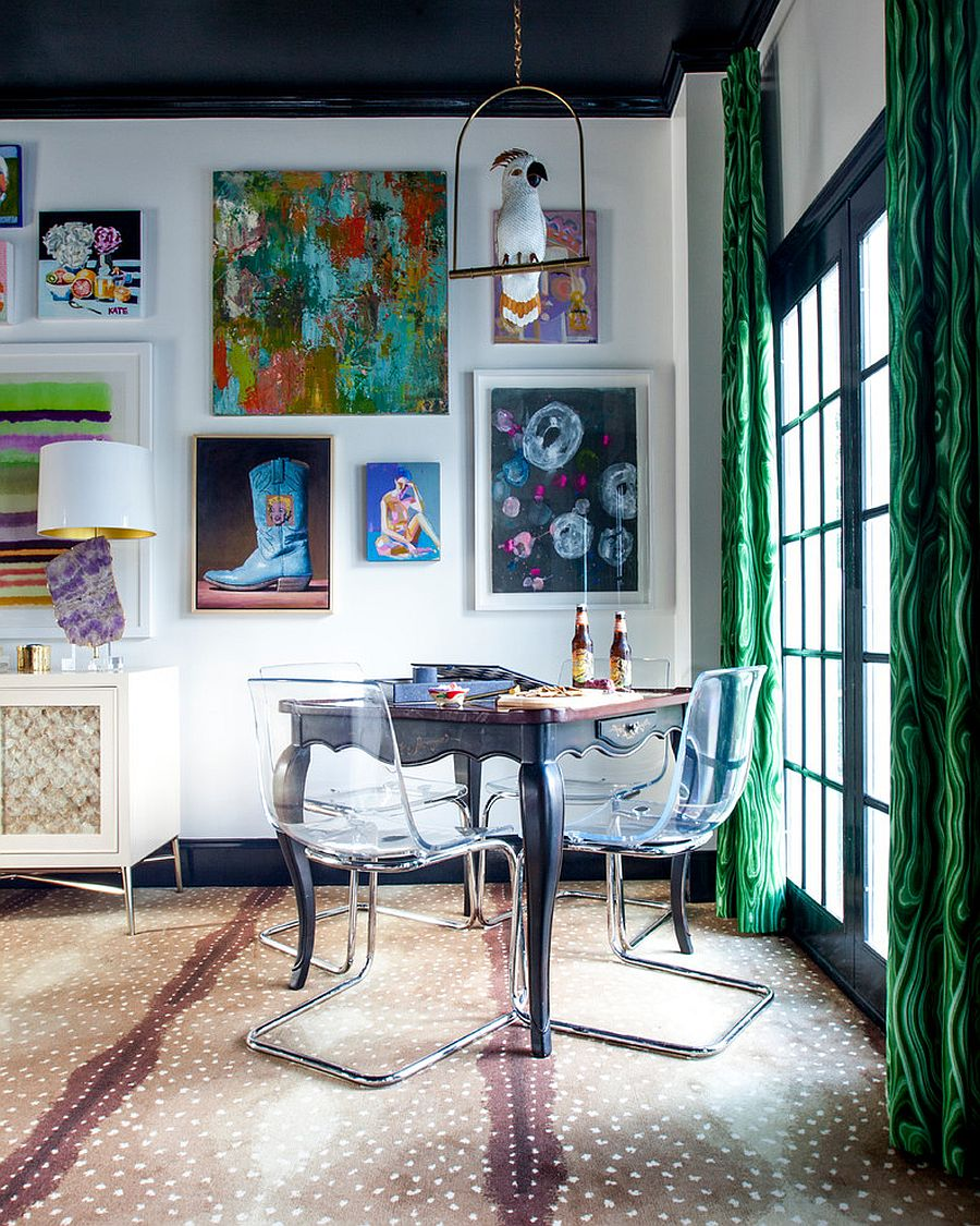 Wall art and drapes in malachite hue bring color to the small dining area [Design: The English Room]