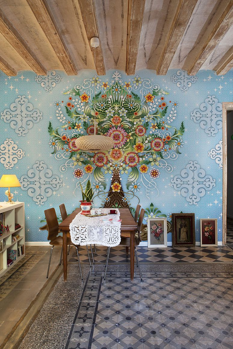 Wallpaper is an easy way to add color and pattern to the dining room [From: Catalina Estrada]